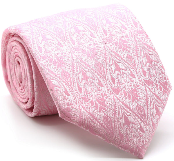 Mens Dads Classic Pink Paisley Pattern Business Casual Necktie & Hanky Set GO-2 - Ferrecci USA
