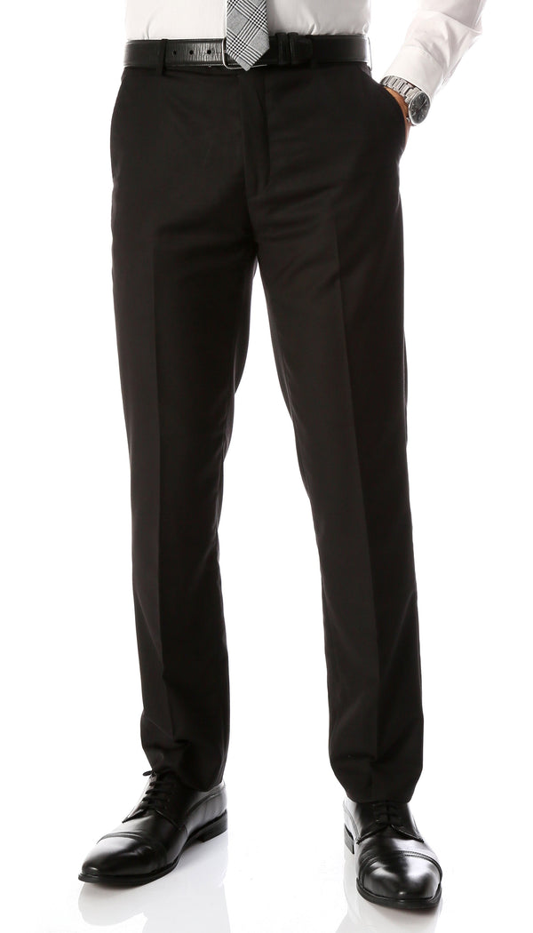 Ferrecci Men's Halo Black Slim Fit Flat-Front Dress Pants - Ferrecci USA