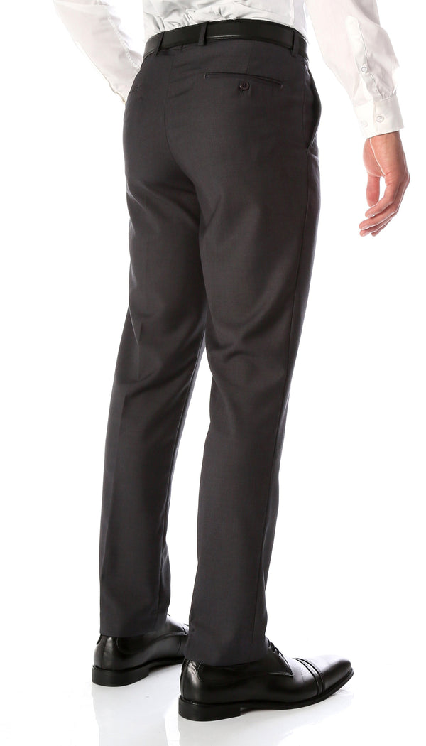 Ferrecci Men's Halo Charcoal Slim Fit Flat-Front Dress Pants - Ferrecci USA