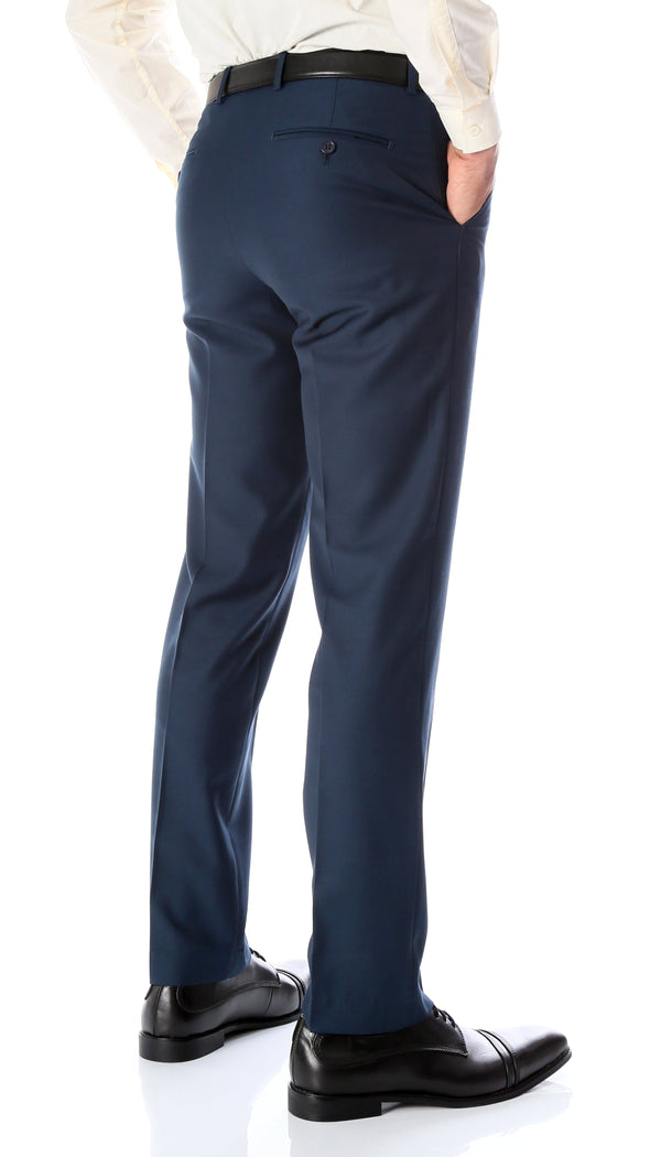 Ferrecci Men's Halo Navy Slim Fit Flat-Front Dress Pants - Ferrecci USA