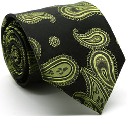 Mens Dads Classic Green Paisley Pattern Business Casual Necktie & Hanky Set HO-3 - Ferrecci USA