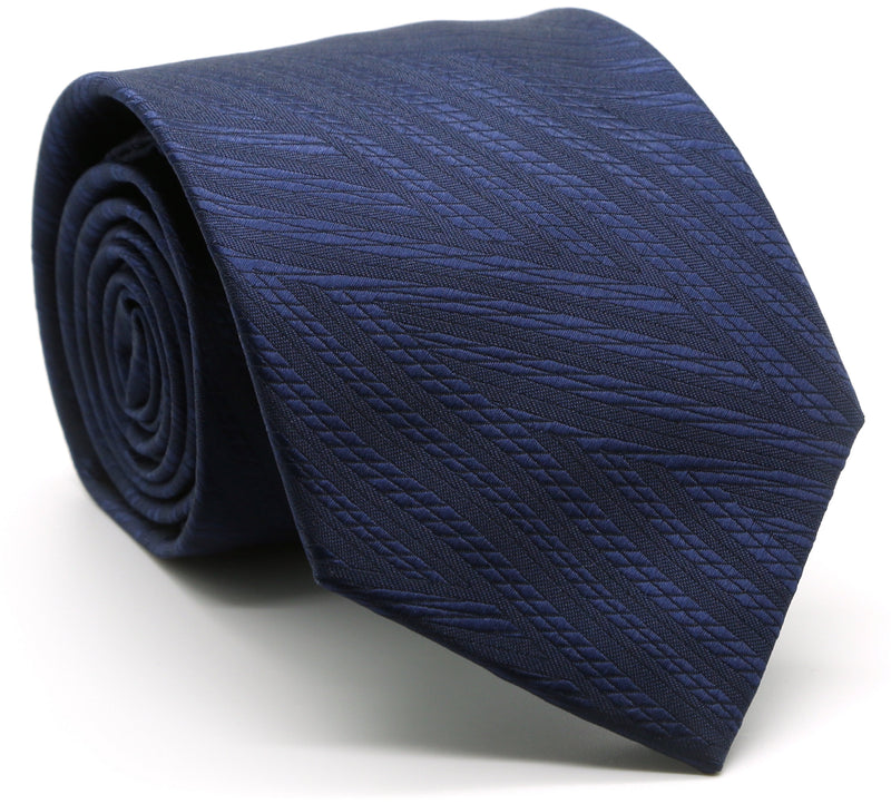 Mens Dads Classic Navy Geometric Pattern Business Casual Necktie & Hanky Set IO-1 - Ferrecci USA