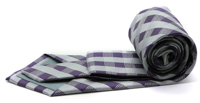 Mens Dads Classic Grey Stripe Pattern Business Casual Necktie & Hanky Set L-3 - Ferrecci USA