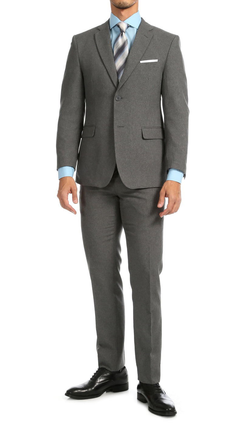 PL1969 Mens Heather Grey Slim Fit 2pc Suit - Ferrecci USA