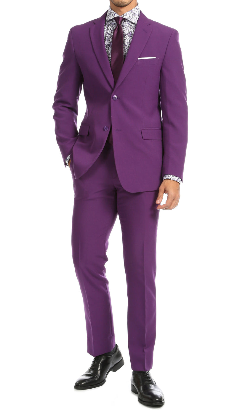 PL1969 Mens Purple Slim Fit 2pc Suit - Ferrecci USA