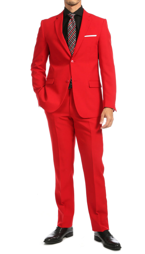PL1969 Mens Red Slim Fit 2pc Suit - Ferrecci USA