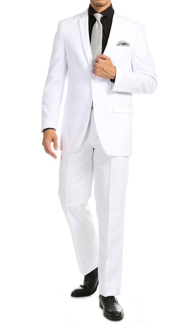 PL1969 Mens White Slim Fit 2pc Suit - Ferrecci USA