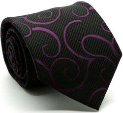 Mens Dads Classic Purple Paisley Pattern Business Casual Necktie & Hanky Set O-6 - Ferrecci USA