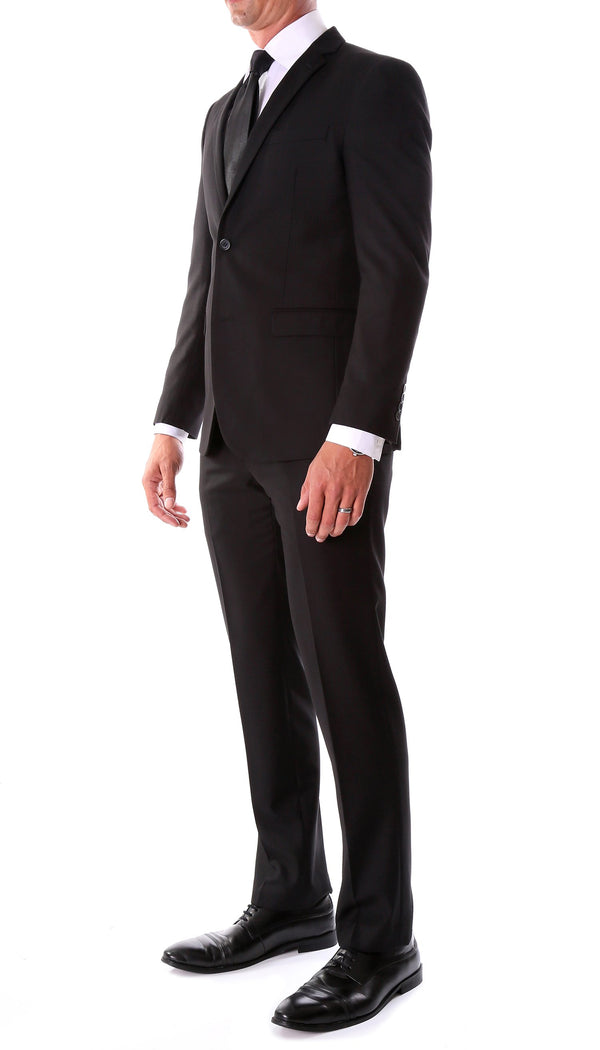 Oslo Black Slim Fit Notch Lapel 2 Piece Suit - Ferrecci USA