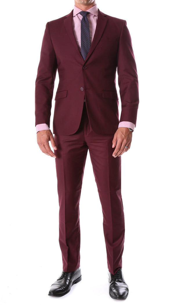 Oslo Burgundy Slim Fit Notch Lapel 2 Piece Suit - Ferrecci USA