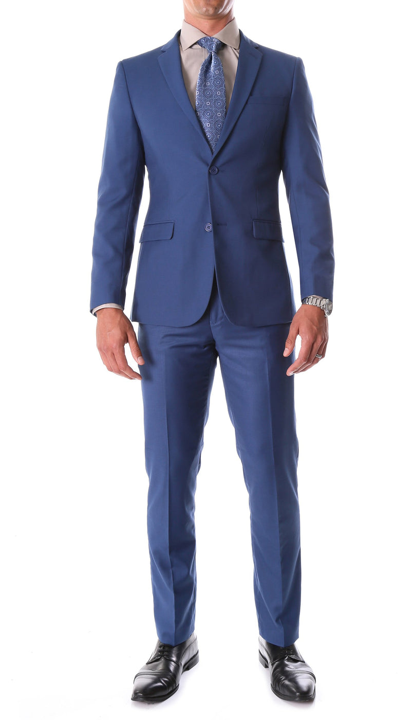 Ferrecci Mens Indigo Blue 2 Button Notch Lapel Suit Big and Tall - Ferrecci USA