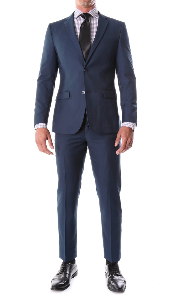 Oslo Navy Slim Fit Notch Lapel 2 Piece Suit - Ferrecci USA