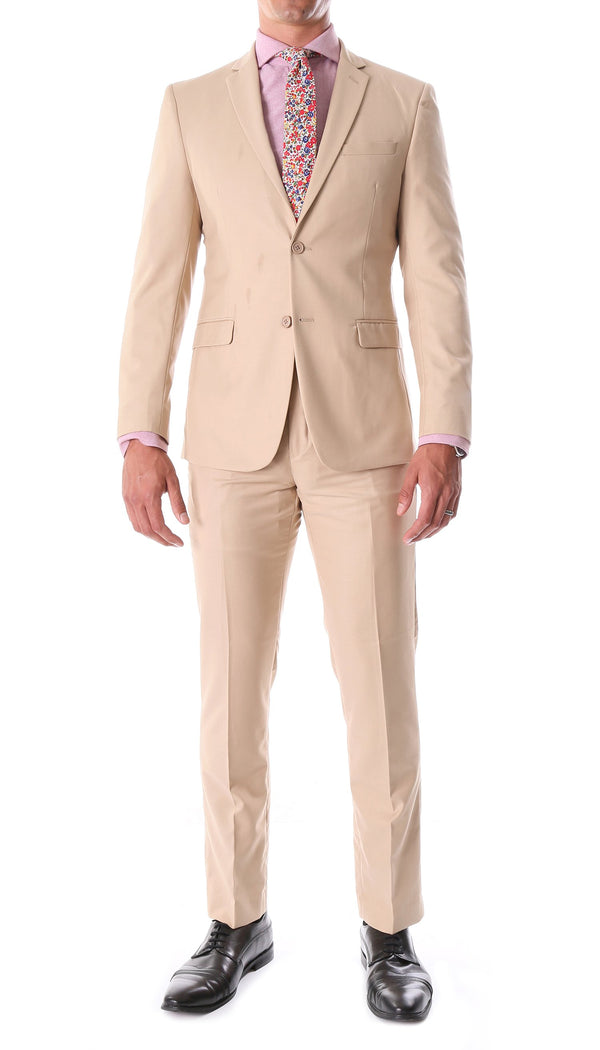 Oslo Tan Slim Fit Notch Lapel 2 Piece Suit - Ferrecci USA