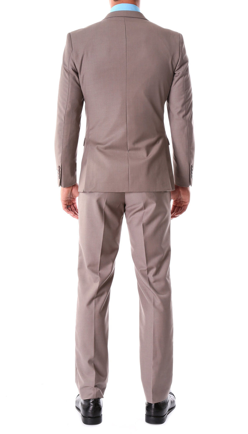 Oslo Taupe Slim Fit Notch Lapel 2 Piece Suit - Ferrecci USA