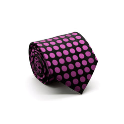 Mens Dads Classic Purple Circle Pattern Business Casual Necktie & Hanky Set PO-4 - Ferrecci USA