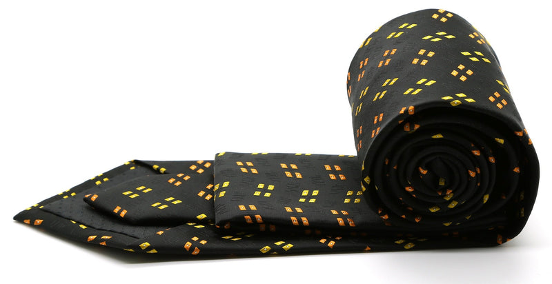 Mens Dads Classic Yellow Geometric Pattern Business Casual Necktie & Hanky Set QO-5 - Ferrecci USA