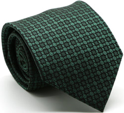 Mens Dads Classic Green Geometric Pattern Business Casual Necktie & Hanky Set R-6 - Ferrecci USA