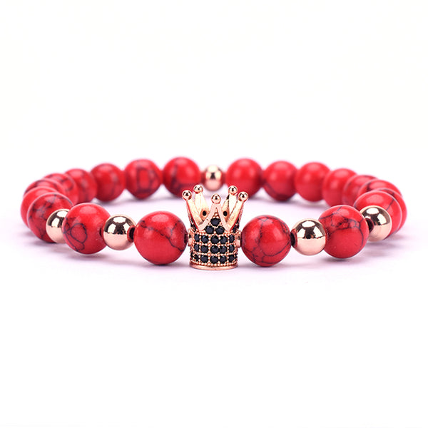 RED W/ GOLD CROWN BRACELET