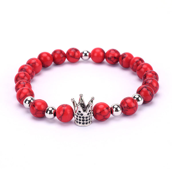 RED W/SILVER CROWN BRACELET