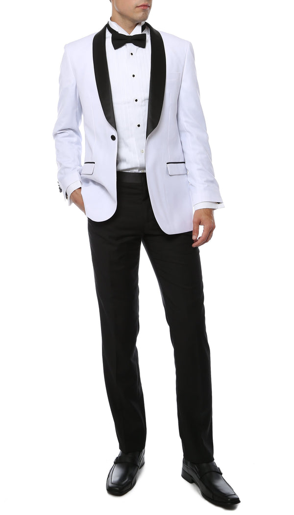 Ferrecci Slim White & Black Satin Shawl Collar Tuxedo Jacket With Black Pants - Ferrecci USA