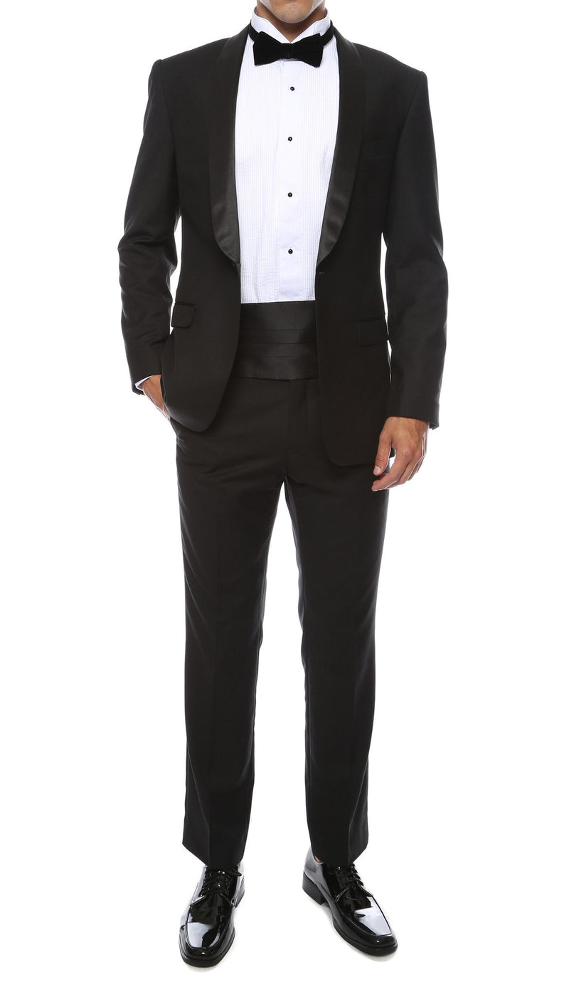 Ferrecci Men's Reno Black Slim Fit Shawl Lapel 2 Piece Tuxedo Suit Set - Ferrecci USA