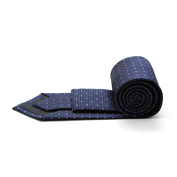 Mens Dads Classic Navy Square Pattern Business Casual Necktie & Hanky Set SO-1 - Ferrecci USA