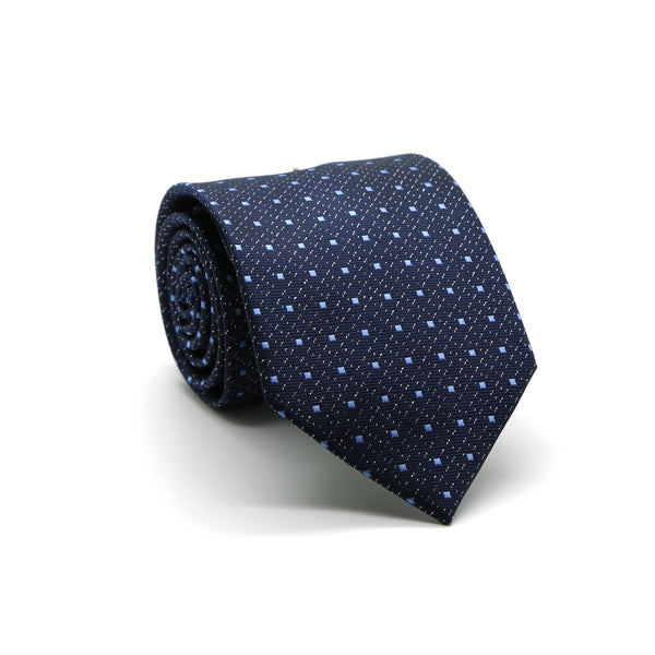 Mens Dads Classic Navy Square Pattern Business Casual Necktie & Hanky Set SO-4 - Ferrecci USA