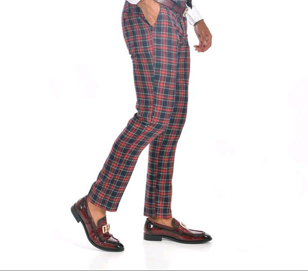 PLAID PANTS NAVY/RED