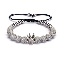Mens Silver Crown Bracelet