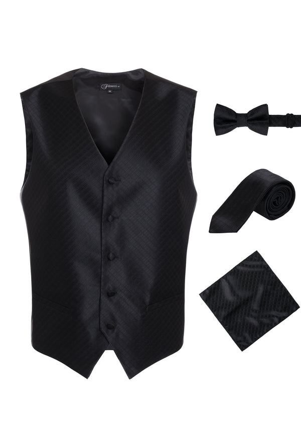 Ferrecci Mens 300-10 Black Diamond Vest Set - Ferrecci USA