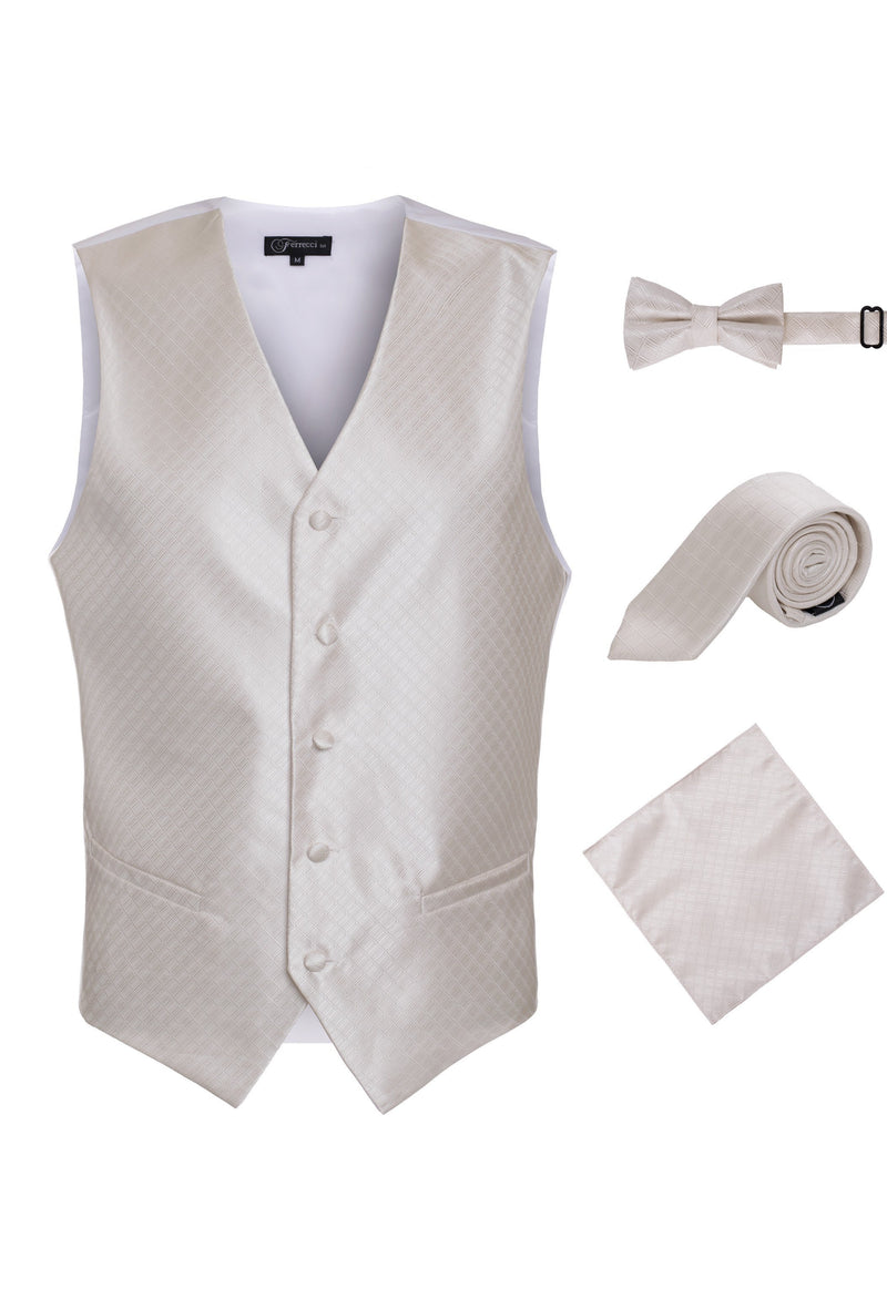 Ferrecci Mens 300-4 Beige Diamond Vest Set - Ferrecci USA