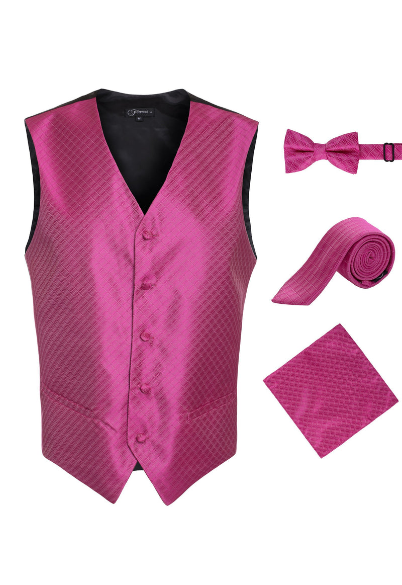 Ferrecci Mens 300-6 Fuchsia Diamond Vest Set - Ferrecci USA