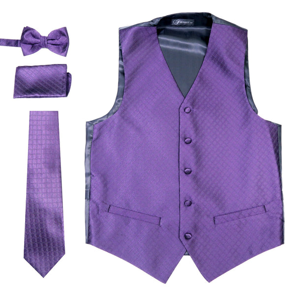 Ferrecci Mens 300-27 Purple Diamond Vest Set - Ferrecci USA