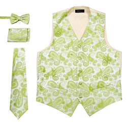 Ferrecci Mens Limon Green Paisley Wedding Prom Grad Choir Band 4pc Vest Set - Ferrecci USA