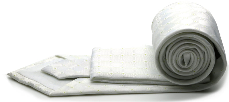 Mens Dads Classic White Geometric Pattern Business Casual Necktie & Hanky Set W-4 - Ferrecci USA