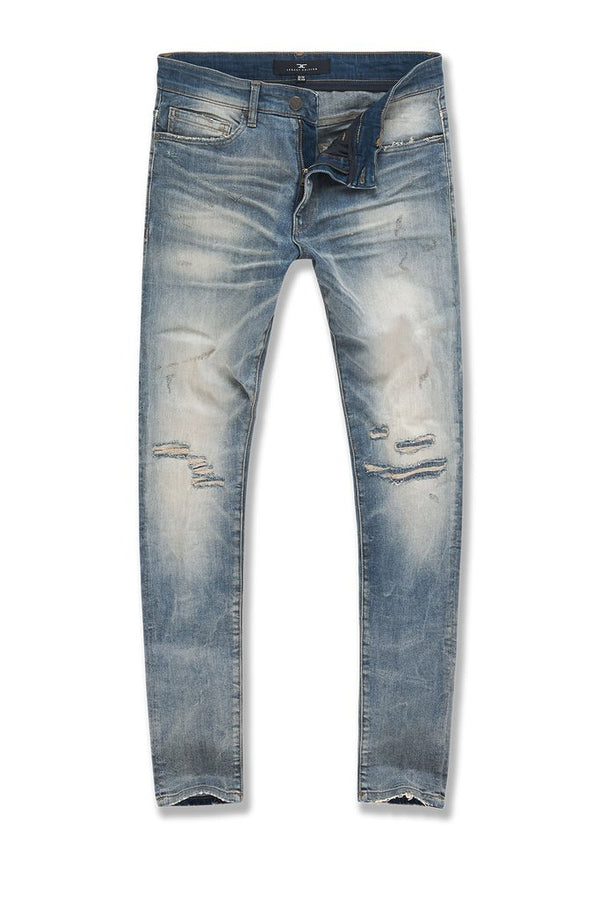 Lager Washed Denim with Shreds