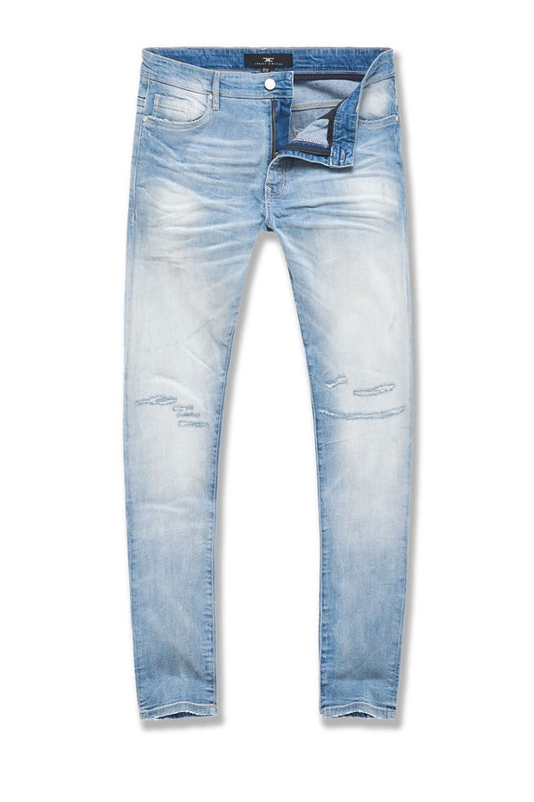 Arctic Washed Denim  With Shreds