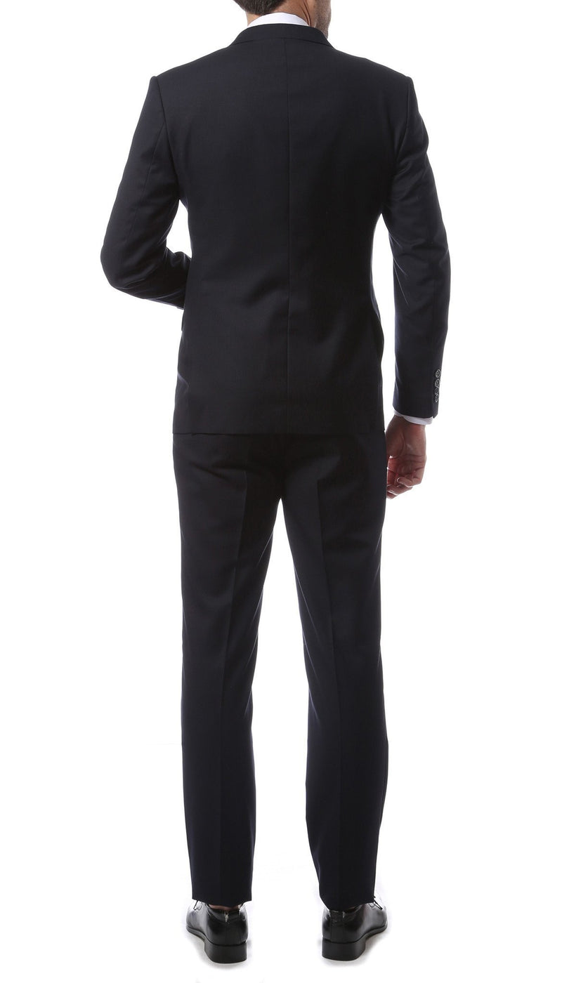 Mens ZNL22S 2pc 2 Button Slim Fit Navy Blue Zonettie Suit - Ferrecci USA