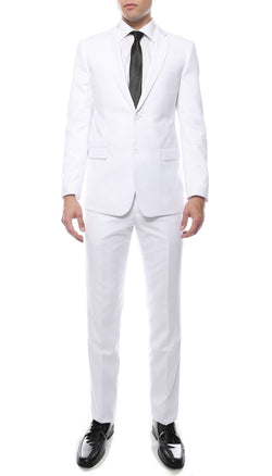 Mens ZNL22S 2pc 2 Button Slim Fit White Zonettie Suit - Ferrecci USA
