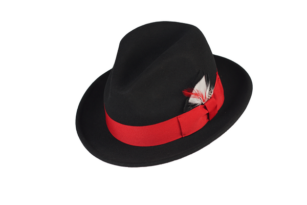Trilby Soft 100% Australian Wool Felt Body With Removable Feather Fully Crushable Black/Red Hat Great For Travel.