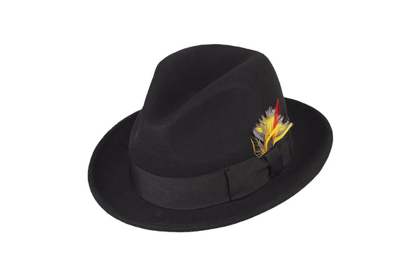 Trilby Soft 100% Australian Wool Felt Body With Removable Feather Fully Crushable Black Hat Great For Travel.