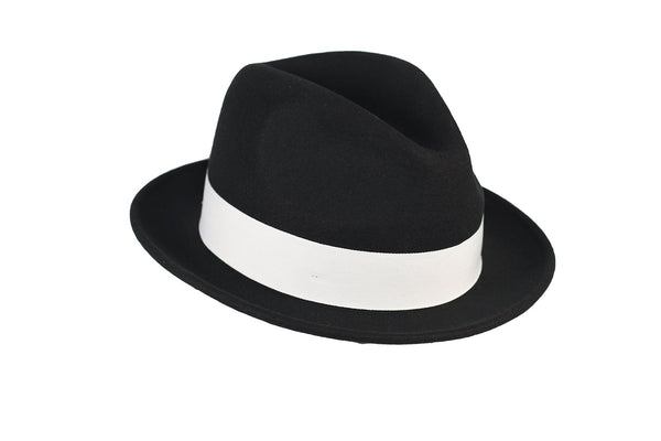 Trilby Soft 100% Australian Wool Felt Body With Removable Feather Fully Crushable Black/White Hat Great For Travel.