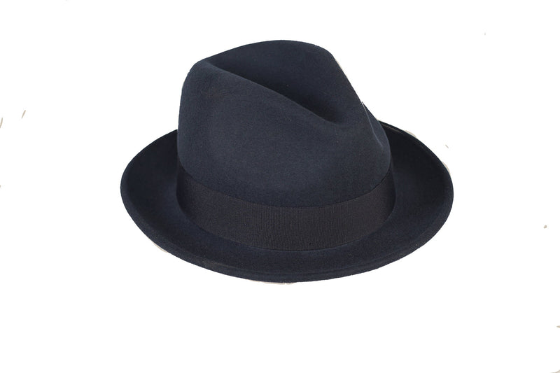 Trilby Soft 100% Australian Wool Felt Body With Removable Feather Fully Crushable Navy Blue Hat Great For Travel.