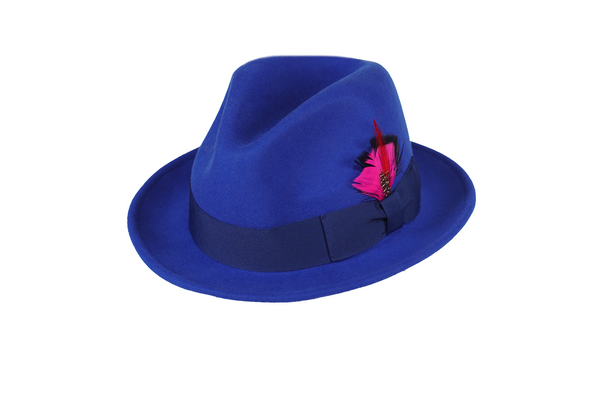 Trilby Soft 100% Australian Wool Felt Body With Removable Feather Fully Crushable Royal Blue Hat Great For Travel.