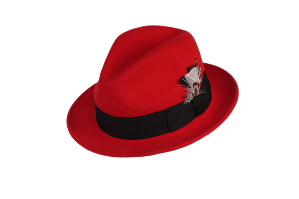 Trilby Soft 100% Australian Wool Felt Body With Removable Feather Fully Crushable Red/Black Hat Great For Travel.