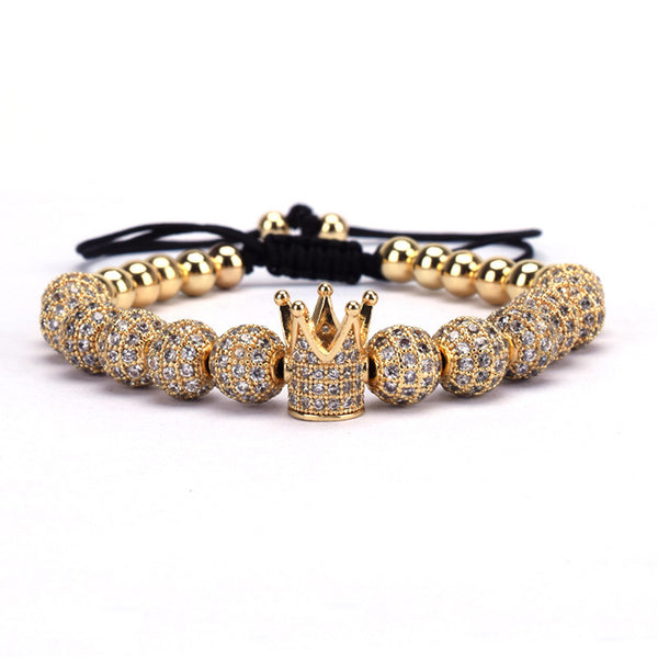 Paul Lorenzo Drake Gold Crown Braided Copper Bracelets with 8mm Micro Pave Cubic Zirconia Beads Pulsar Bangle Charm Jewelry for Men Women Unisex