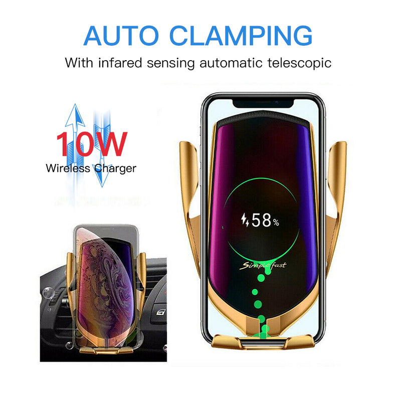 10W Wireless Car Charger Infrared Auto Clamp Fast Charging Car Phone Holder Mount