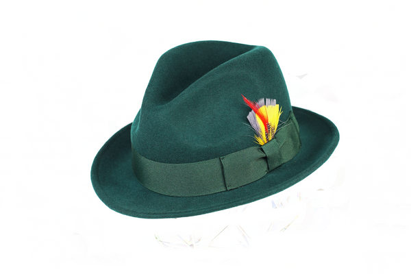 Trilby Soft 100% Australian Wool Felt Body With Removable Feather Fully Crushable Great For Travel.