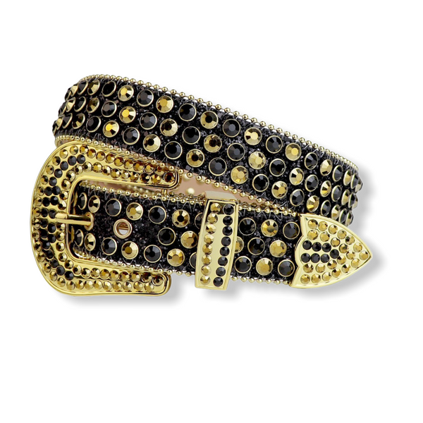 Luxe Premium Studded Rhinestone Belt Black/Gold 2