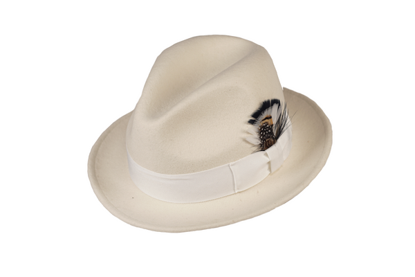 Trilby Soft 100% Australian Wool Felt Body With Removable Feather Fully Crushable White Great For Travel.